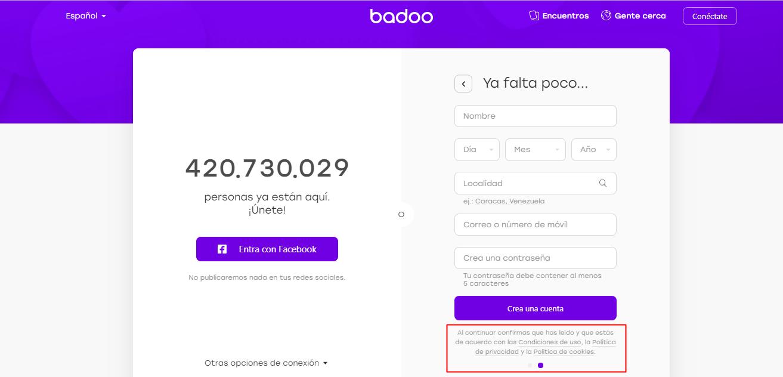 crear cuenta badoo